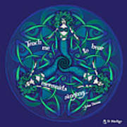 Celtic Mermaid Mandala In Blue And Green Art Print