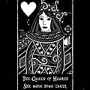 Celtic Queen Of Hearts Part I In Black And White Art Print