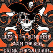 Celtic Spiral Pirate In Orange And Black Art Print