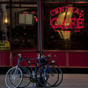 Central Cafe Bicycles Art Print