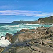 Central Coast Ca Ocean Waves Crashing On Rocks  4 Art Print