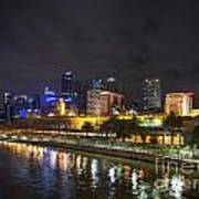 Central Melbourne Skyline At Night Australia Art Print