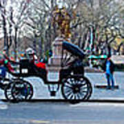 Central Park Horse Carriage Station Panorama Art Print