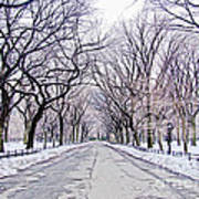 Central Park Mall In Winter Art Print