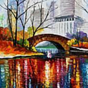 Central Park - Palette Knife Oil Painting On Canvas By Leonid Afremov Art Print
