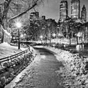 Central Park Path Night Black & White Art Print