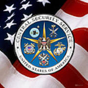 Central Security Service - C S S Emblem Over American Flag Art Print
