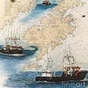 Centurion Trawl Fishing Boat Nautical Chart Art Art Print