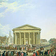 Ceremony Of Laying The First Stone Of The New Church Of St. Genevieve In 1763, 1764 Oil On Canvas Art Print