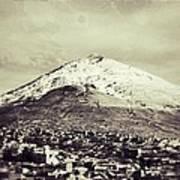 Cerro Rico Potosi Black And White Vintage Art Print