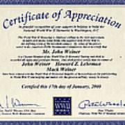 Certificate Of Appreciation Art Print