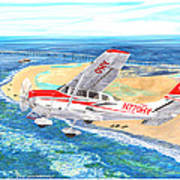 Cessna 206 Flying Over The Outer Banks Art Print