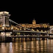 Chain Bridge And Buda Castle Winter Night Art Print