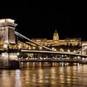Chain Bridge And Buda Castle Winter Night Painterly Art Print