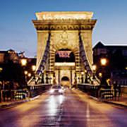 Chain Bridge In Budapest At Night Art Print