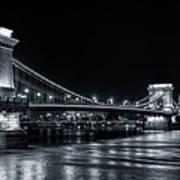 Chain Bridge Night Bw Art Print