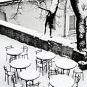 Chairs And Tables In Snow Art Print