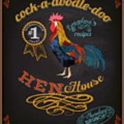 Chalkboard Poster For Chicken Art Print
