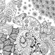Chameleon In Fantasy Forest. Animals Art Print