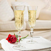 Champagne And Rose Art Print