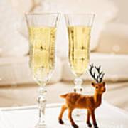 Champagne At Christmas Art Print