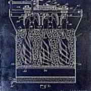 Champagne Bottle Freezer Patent 1902 Blue Art Print