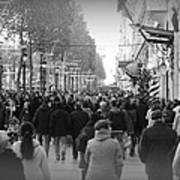 Champs Elysees Black N White Art Print