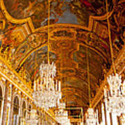 Chandeliers And Ceiling Of Versailles Art Print
