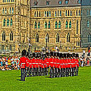 Changing Of The Guard In Front Of The Parliament Building In Ottawa-on Art Print
