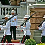 Changing Of The Guard Near Reception Hall At Grand Palace Of Thailand In Bangkok Art Print