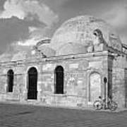 Chania Mosque Crete Black  And White Art Print