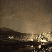 Chapel On The Rock Stary Night Portrait Monotone Print by James BO  Insogna
