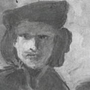 Charcoal Study Of Rembrandt  Self-portrait With Velvet Beret Art Print