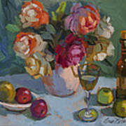 Chardonnay And Roses Art Print