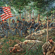 Charge Of The 20th Maine - Joshua L. Chamberlain Leading The 20th Maine Regiment On Little Round Top Art Print