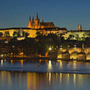 Charles Bridge And Prague Castle At Dusk  Art Print
