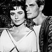 Charlton Heston And Marina Berti Art Print