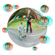Chasing Bubbles - Red/cyan Filtered 3d Glasses Required Art Print