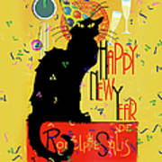 Chat Noir New Years Party Countdown Art Print