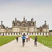 Chateau Chambord And Cyclists Art Print