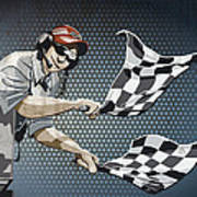 Checkered Flag Grunge Color Art Print by Frank Ramspott