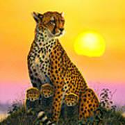Cheetah And Cubs Print by MGL Studio - Chris Hiett