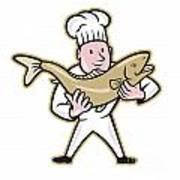 Chef Cook Handling Salmon Fish Standing Art Print