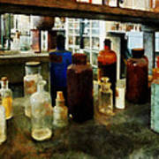Chemistry - Assorted Chemicals In Bottles Art Print
