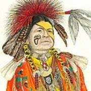Cherokee In Orange Art Print by Lew Davis