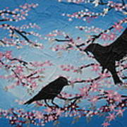 Cherry Blossom Birds Art Print