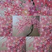 Cherry Blossom Collage Art Print
