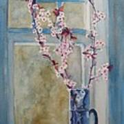 Cherry Blossoms In A Blue Pitcher Art Print