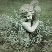Cherub Statue In The Garden Art Print