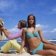 Cheryl Tiegs Modeling A Bikini At A Beach Art Print